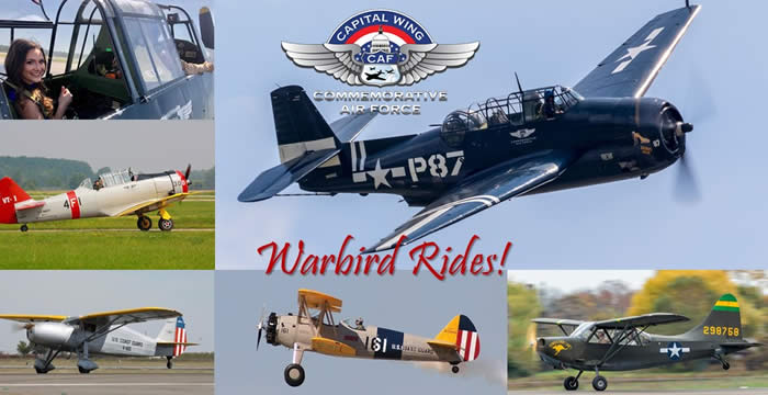 Capital Wing Warbird Showcase, This is a once in a lifetime opportunity to fly in these historical WWII airplanes.