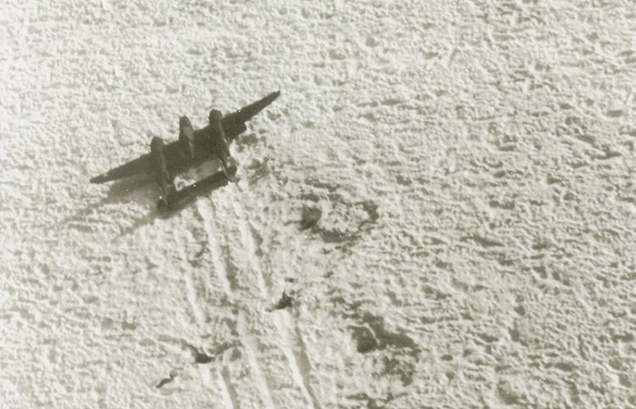 The Lost Squadron of airplanes included a group of two B-17 bombers and six P-38 fighters flying from the U.S. to Britain in July 1942 when they hit a storm and went down in remote Greenland. Here, a photo of the P-38 fighter on the ice. (Image credit: US Army)
