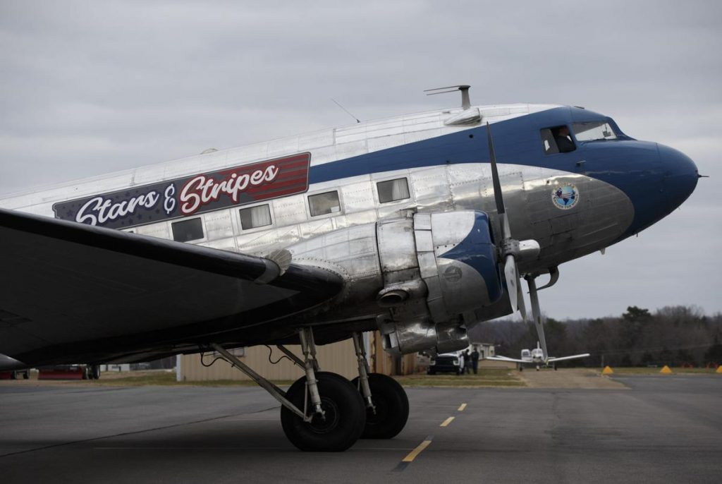 The Stars and Stripes, a vintage DC-3, used to be housed at a museum in Georgia and took part in air shows. Photo by Mike Morones/ The Free Lance-Star