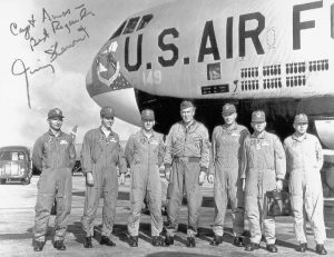 """Brigadier General James M. (""""Jimmy"""") Stewart, USAFR (center) with the crew of B-52F Stratofortress 57-149, at Anderson Air Force Base, Guam, 20 February 1966. (U.S. Air Force)"""