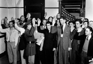 James M. Stewart enlists as a private in the United States Army, 22 March 1941. (Los Angeles Times)