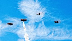 Boeing PT-17 Stearmans in formation (photo credit: Capital Wing)